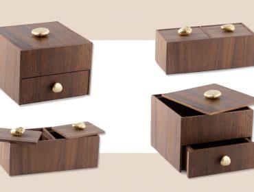 Nao Yuasa assina coleção de caixas Seixos feitas em imbuia com exclusividade para a dpot objeto