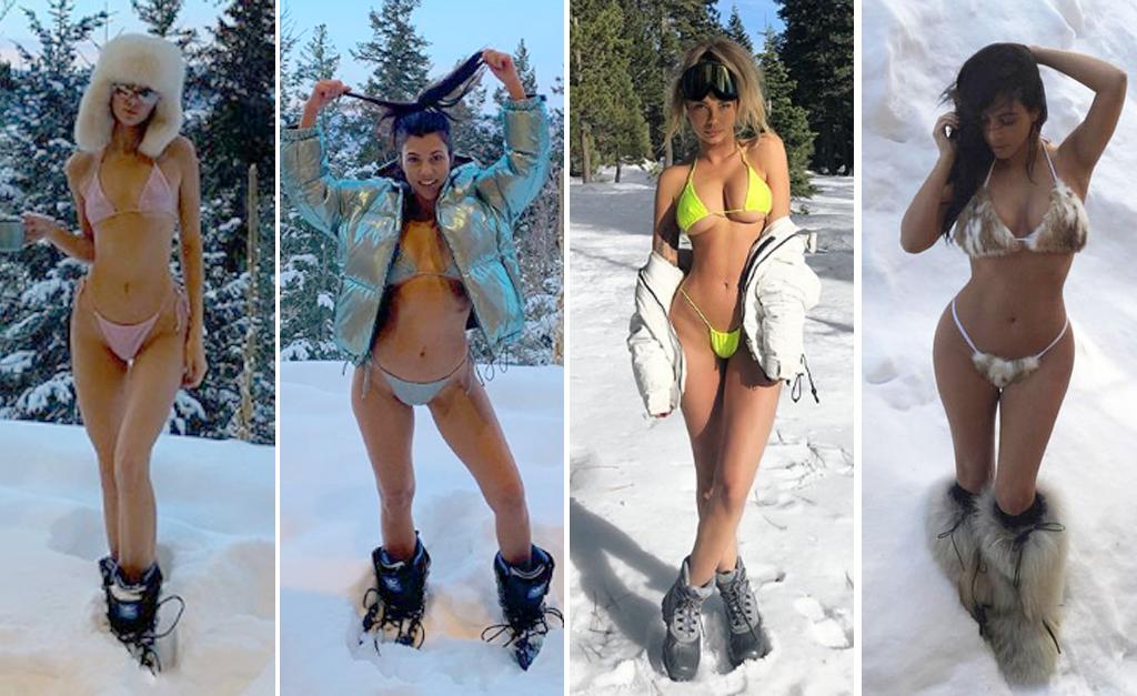 d2c924e5542b Celebs de biquíni no meio da neve? Moda lançada por Kim Kardashian ...