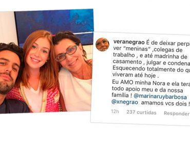 """Vera Negrão sai em defesa de Marina Ruy Barbosa: """"Eu amo minha nora"""""""