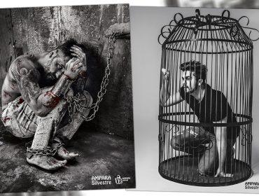 Bruno Gagliasso aparece acorrentado e Luan Santana engaiolado em campanha em prol dos animais