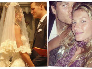Gisele e Tom Brady comemoram10 anos de casados divulgando foto inédita do casamento