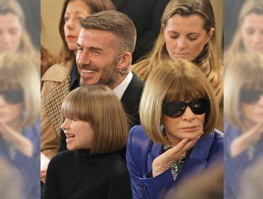 Versão miniatura de Anna Wintour, Harper Beckham rouba a cena na primeira fila do desfile da mãe