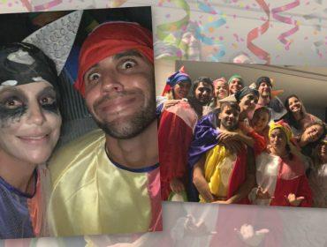 Ivete Sangalo se joga na multidão mascarada e acompanhada do marido