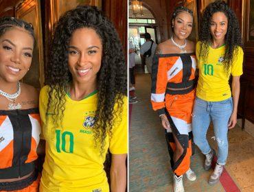 Ciara encontra Ludmillano Rio de Janeiro e arrisca cantar trecho de música da brasileira