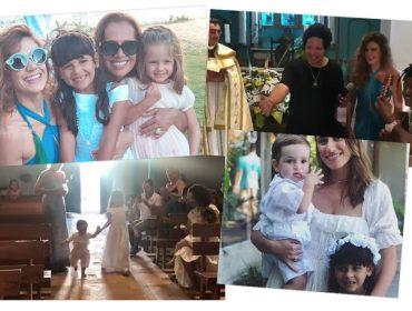 Batizado de Brisa e Joaquim, filhos de Mariana Aydar e Luna Nigro, marcou o domingo em Trancoso