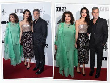 Sogra de George Clooney rouba a cena na première londrina da minissérie dirigida pelo astro