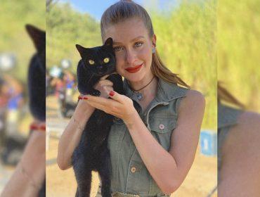 """Felino de sorte: Marina Ruy Barbosa fica com um dos gatos recrutados para viver Léon em """"O Sétimo Guardião"""""""