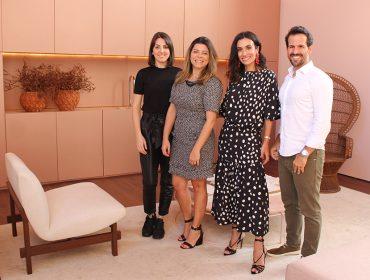 Romana Novais, mulher de Alok, Lucas Anderi e Silvia Braz prestigiam mostra de decoração