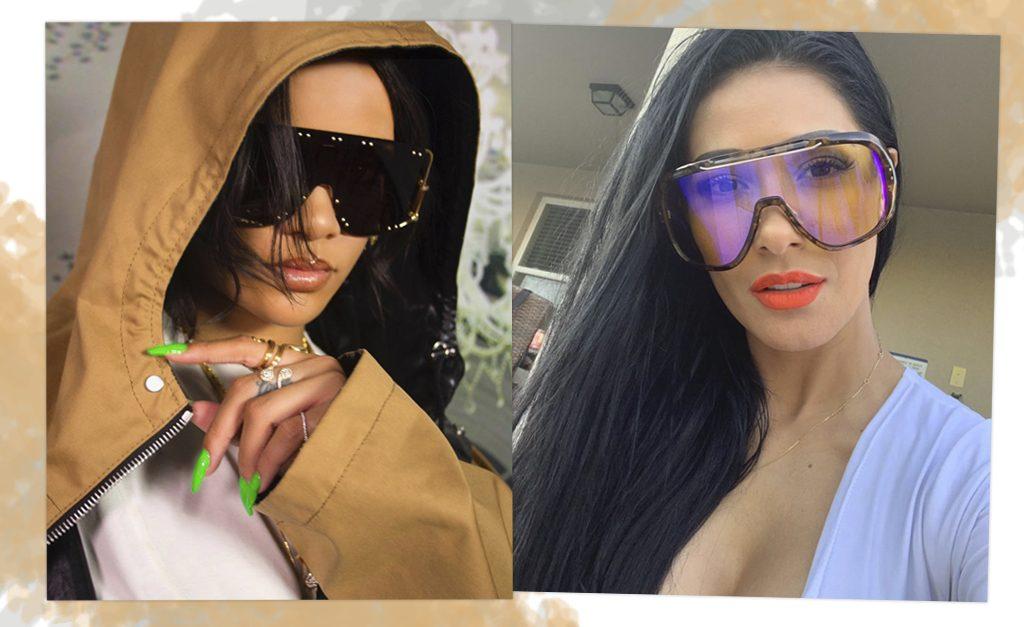 7f0892b57 De Rihanna a Simaria: os óculos-máscara estão fazendo a cabeça de celebs do  mundo todo – Moda – Glamurama