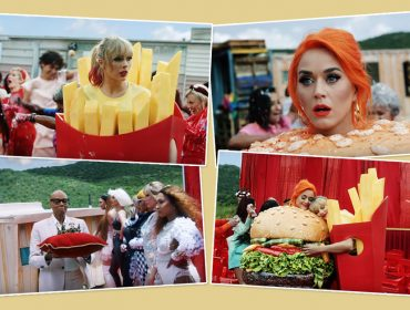 Taylor Swift faz as pazes com Katy Perry: uma vestida de batata frita e a outra de hamburguer… Oi?