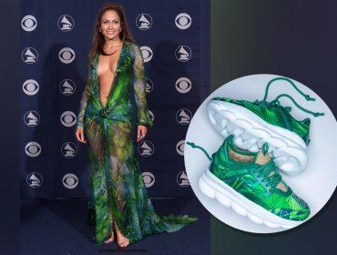 J.Lo faz 50! Glamurama comemora com o icônico Versace que ela usou em 2000 e acaba de virar tênis. Entenda!