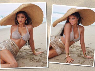 Kylie Jenner faz jornada dupla e posa de biquíni para promover linha de verão de maquiagem
