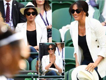 Com look de quase R$ 2,5 mil e distribuindo sorrisos, Meghan Markle assiste a bff Serena Williams em Wimbledon