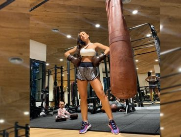 Em Barcelona, Sabrina Sato corre para a academia depois de três pratos de paella ao lado de Zoe