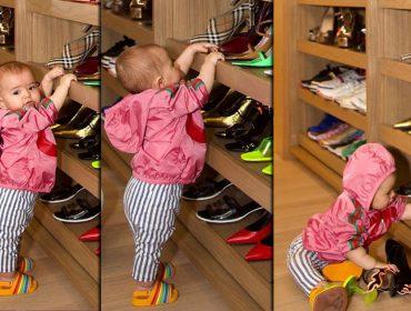 """Bebê fashion! Zoe invade o """"pequeno"""" closet de sapatos de Sabrina Sato: """"Nem sabe andar, e já quer os meus sapatos?'"""