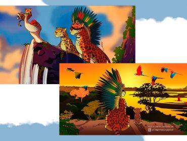 """Com Amazônia no centro das atenções, artista cria versão de """"O Rei Leão"""" com animais da nossa fauna"""