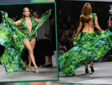 Jennifer Lopez quebra tudo na semana de moda de Milão ao surgir na passarela da Versace com vestido icônico