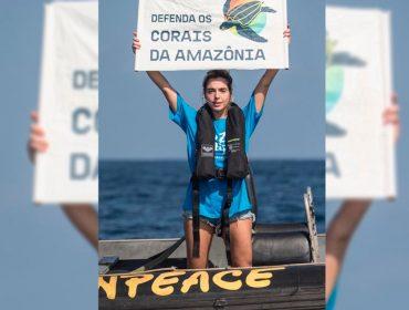 Giovanna Lancellotti embarca em navio do Greenpeace e protesta contra petroleiros na Guiana Francesa