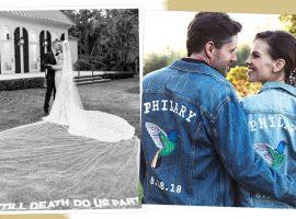 Bordar o amor em vestidos de noiva e jaquetas oversized é a nova moda entre os casais de celebs