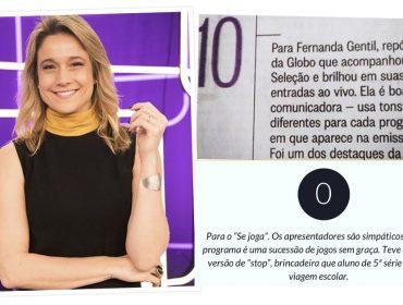 """Fernanda Gentil relembra nota 10 que ganhou de colunista para rebater críticas ao """"Se Joga"""": """"Correr atrás pra recuperar"""""""