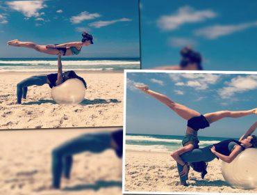 Grazi Massafera faz acrobacias em praia no Rio de Janeiro. Conheça a Acroyoga, nova mania da atriz!