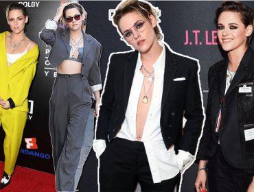 Kristen Stewart é a rainha do estilo 'boyish' e seus looks masculinos roubam a cena mundo afora. Vem ver!