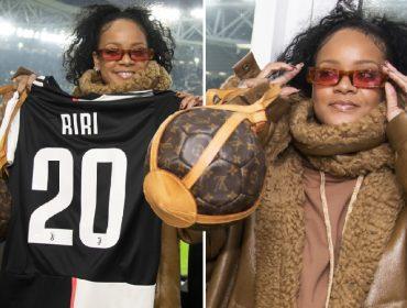 Rihanna usou bolsa vintage de quase R$ 15 mil na partida entre a Juventus e o Atlético de Madrid