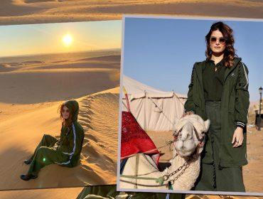 Isabeli Fontana faz foto montada em camelo e Di Ferrero diz que queria estar no lugar do animal. Ui!
