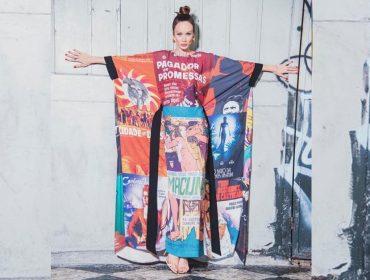 Mariana Ximenes usa vestido estampado com cartazes de filmes nacionais na abertura do Festival do Rio