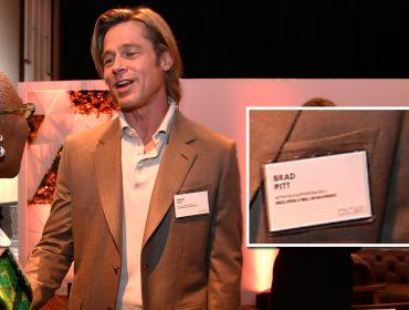Prazer, Brad Pitt! Ator faz questão de usar crachá em encontro organizado pela Academia de Artes e Ciências Cinematográficas de Hollywood