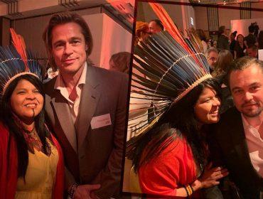 Líder indígena Sonia Guajajara registra encontro com astros de Hollywood em evento pré-Oscar