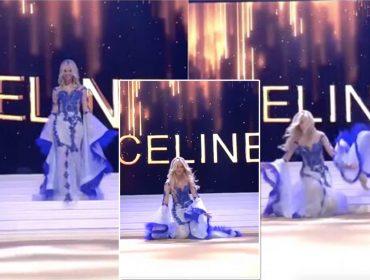 Vencedora do concurso de Miss Bélgica leva tombo em rede nacional e perde o sutiã no palco… Oi?