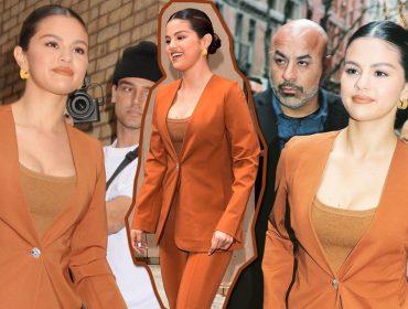 Mood do dia: O visual 'executivo' e quase monocromático de Selena Gomez da cabeça aos pés
