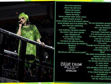 """Billie Eilish manda sincerão para público em primeiro show da turnê """"Where Do We Go?"""": """"Eu sou minha barriga? Meus quadris?"""""""
