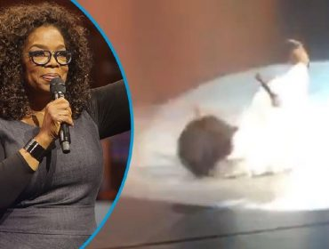 A bordo de saltos altíssimos, Oprah se desequilibra e cai durante palestra. Assista o vídeo do momento!
