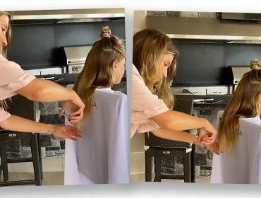 Cliente satisfeita! Gisele Bundchen tem dia de hair stylist e mostra seus dotes ao cortar o cabelo da filha Vivian