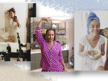 """Pijamas ganham status de """"look do dia"""" entre as famosas durante a quarentena. Dá uma espiada!"""