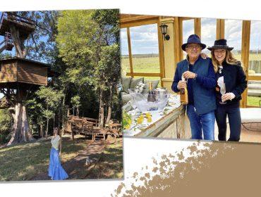 Galvão Bueno em quarentena campestre com a mulher, Desirée, em meio a vinhos e noites românticas na casa da árvore