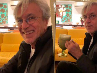 """Seu Paçoca está de volta. Caetano Veloso é flagrado tomando um certo shake e dá a receita: """"O que você colocou nesse shake?"""""""