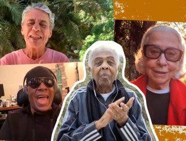 """De Stevie Wonder a Fernanda Montenegro: """"Andar com Fé"""" é cantada por famosos para comemorar os 78 anos de Gilberto Gil"""
