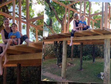 Ana Hickmann mostra seus dotes de carpinteira construindo casa na árvore para o filho durante a quarentena