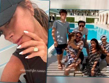 Victoria Beckham aproveita férias em família para exibir um dos anéis de noivado de sua coleção de R$ 58 milhões
