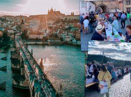 Fim da pandemia é celebrado por moradores de Praga com jantar em mesa de mais de 500 metros nas ruas da cidade