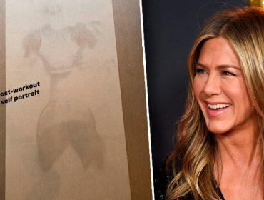 """Suor de Jennifer Aniston em tapete de yoga vira assunto nas redes sociais e rende comentários como: """"Até o suor dela é bonito"""""""