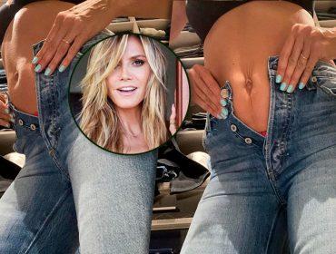 Heidi Klum mostra jeans apertado e prova que é gente como a gente na quarentena