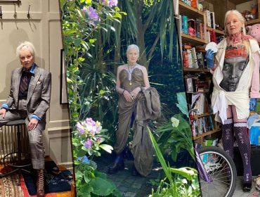 Direto do confinamento, Vivienne Westwood, aos 79 anos, ataca de modelo de sua própria coleção. E arrasa!