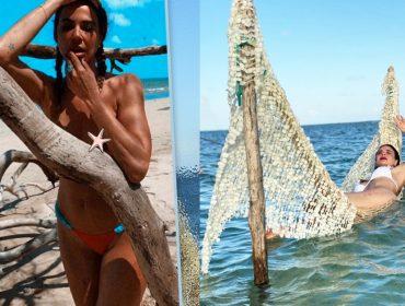 """Luciana Gimenez faz topless em praia deserta em Milagres, onde curte férias com os filhos, e pergunta: """"É bolo de rola que diz?"""""""