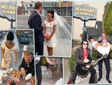Lily Allen e David Harbour se casam em Las Vegas com direito a Elvis Presley e fast-food