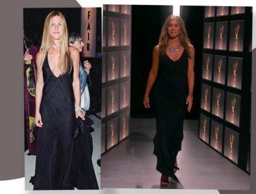 Além de não ousar no penteado e na make, Jennifer Aniston também aposta no look 'pretinho básico'