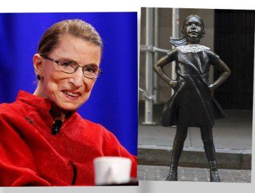 Ruth Bader Ginsburg é homenageada com intervenção artística na icônica estátua Fearless Girl em Nova York